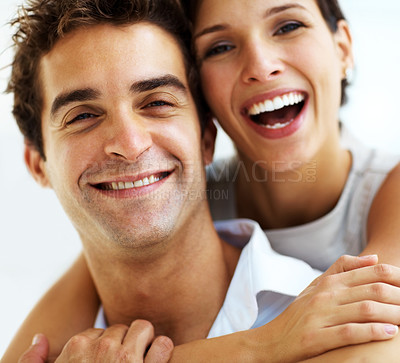 Buy stock photo Closeup portrait of pretty girl embracing her handsome boyfriend
