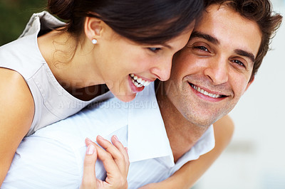 Buy stock photo Portrait of happy young couple enjoying themselves