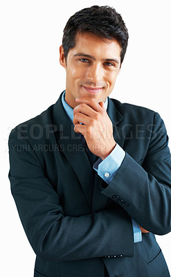 Buy stock photo View of businessman with hand on chin, posing