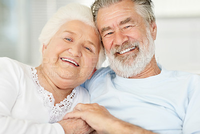Buy stock photo Portrait of a loving senior couple holding each others' hand