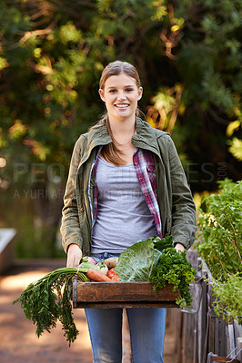 Buy stock photo Portrait of a happy young woman holding a crate full of freshly picked vegetables