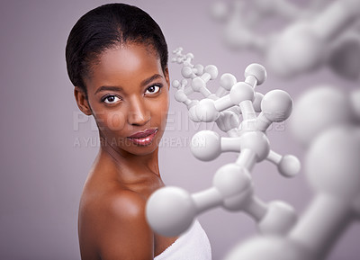 Buy stock photo Cropped shot of a beautiful african woman against a purple background