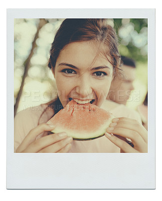 Buy stock photo Framed portrait of a teenage girl eating a piece of watermelon