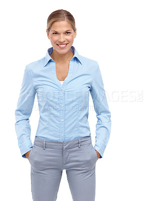 Buy stock photo Happy young woman standing with her hands in her pockets - isolated