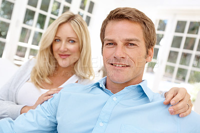 Buy stock photo Portrait of a smiling couple