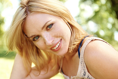 Buy stock photo Portrait of a beautiful young smiling woman in an outdoor environment