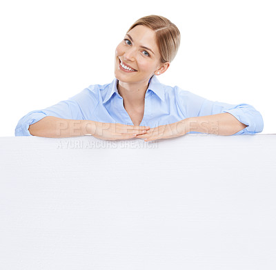 Buy stock photo Studio shot of a beautiful young businesswoman resting on top of a blank white wall