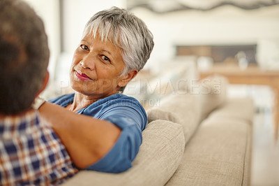 Buy stock photo Shot of a senior couple spending quality time together at home