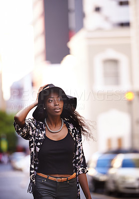Buy stock photo Shot of an attractive woman out in the city