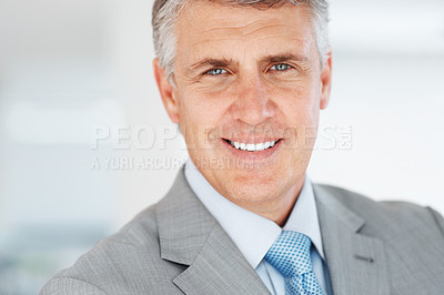 Buy stock photo Closeup portrait of a successful senior business man smiling at office