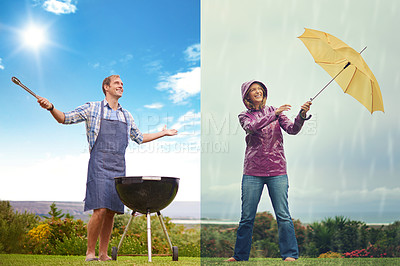 Buy stock photo Composite shot of a man barbequing on a sunny day while a a woman fights against the wind on a rainy day