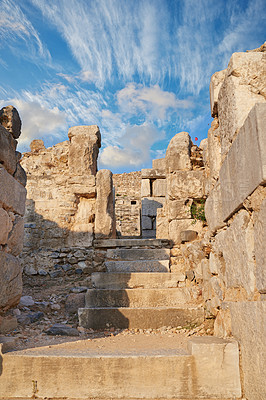 Buy stock photo Shot of ancient Roman ruins in Turkey