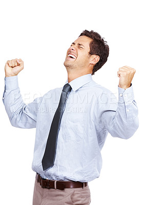 Buy stock photo Portrait of an excited handsome business man with arms raised in success isolated on white  background