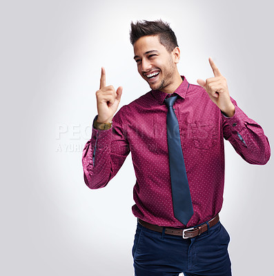Buy stock photo Cropped studio shot of a businessman celebrating his success