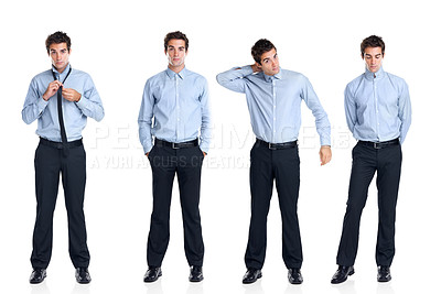 Buy stock photo Collage of handsome young businessman standing on white background - Clone