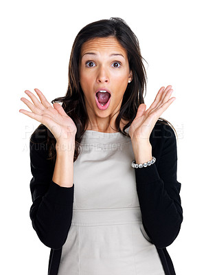 Buy stock photo Pretty young surprised woman isolated over white background