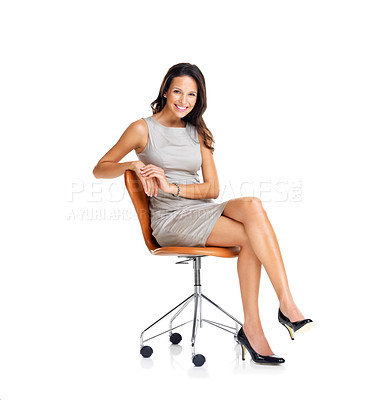 Buy stock photo Successful young businesswoman on chair smiling isolated on white background