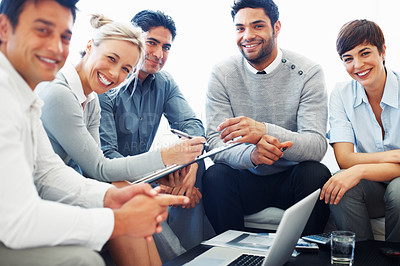 Buy stock photo Group of successful business people smiling together during meeting