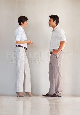 Buy stock photo Full length of business colleagues having conversation with each other