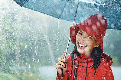 Buy stock photo Woman in raincoat smiling as she holds umbrella