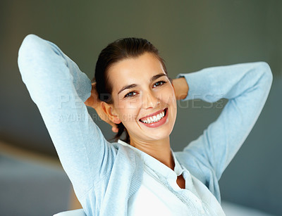 Buy stock photo Closeup of woman sitting with hands clasped behind head
