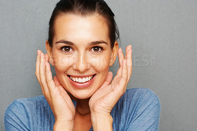 Buy stock photo Closeup of attractive young woman looking surprised