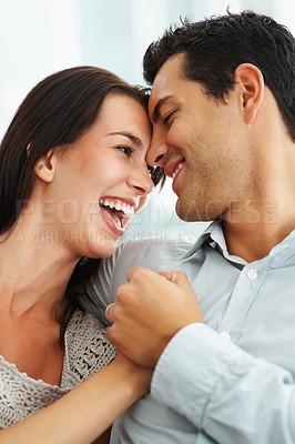 Buy stock photo Portrait of happy couple in love