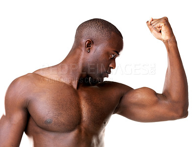 Buy stock photo Portrait of an african american man showing his biceps against white background