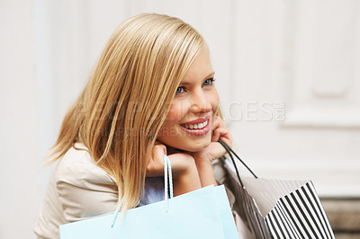 Buy stock photo Beautiful blond with shopping bags