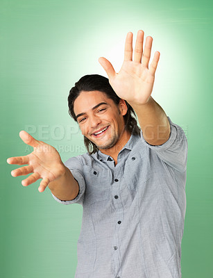 Buy stock photo Happy man with hands extended outward