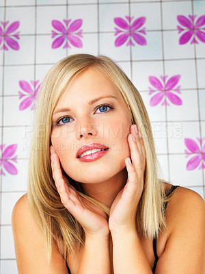 Buy stock photo Pretty woman leaning with her hands on her face