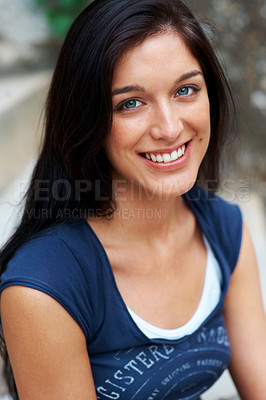 Buy stock photo Closeup portrait of an attractive young girl looking happy