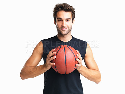 Buy stock photo Basketball player with ball in both hands