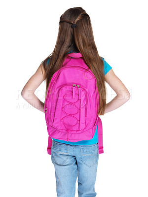 Buy stock photo Rear view of a small girl standing with schoolbag against white background