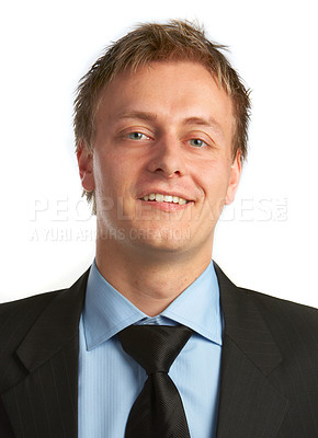 Buy stock photo Businessman full of ideas - A trendy European businessman with a blue tie and shirt.