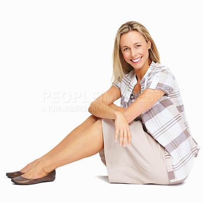 Buy stock photo Full length of beautiful business woman smiling over white background
