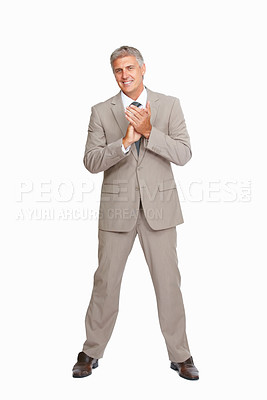 Buy stock photo Portrait of business man applauding over good presentation on white background