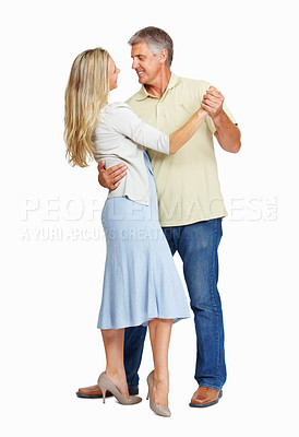 Buy stock photo Full length of mature couple dancing passionately on white background