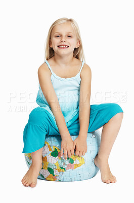 Buy stock photo Portrait of little girl on top of the globe over white background