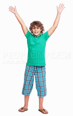 Buy stock photo Full length of a cute little boy raising hands isolated on white background