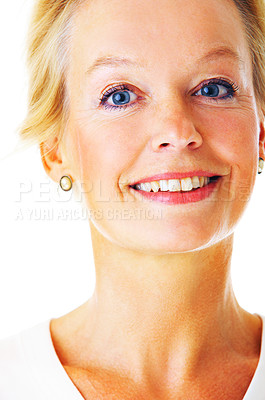 Buy stock photo Closeup studio portrait of an attractive mature woman isolated on white