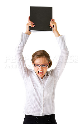 Buy stock photo Portrait of a young businesswoman, clearly unhappy about something and yelling.