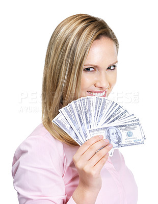 Buy stock photo Gorgeous young female holding American dollar notes isolated against white