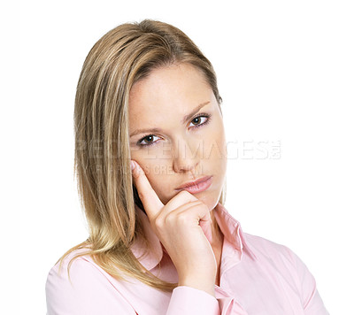 Buy stock photo Portrait of a young gorgeous female lost in deep thought - Isolated against white