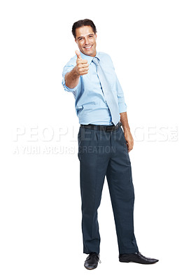 Buy stock photo Portrait of a businessman showing thumbs up isolated on white
