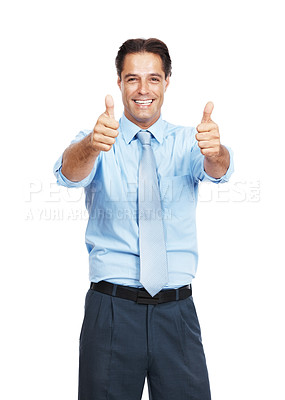 Buy stock photo Portrait of a businessman showing thumbs up against a white background