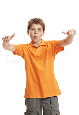 Buy stock photo Silly little boy with tongue sticking out and thumbs up over white background