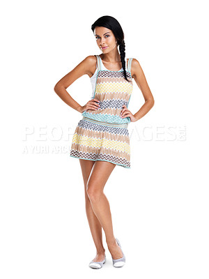 Buy stock photo Full length of an attractive young woman posing confidently against white background
