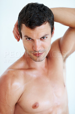Buy stock photo Portrait of handsome man with a flirtatious look