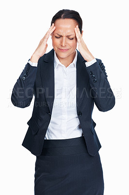 Buy stock photo Portrait of stressed business woman having head pain over white background